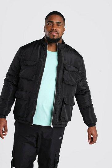 Black Big And Tall 4 Pocket Funnel Neck Jacket