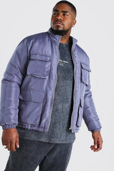 Charcoal Big And Tall 4 Pocket Funnel Neck Jacket