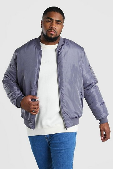 Grey Big And Tall Padded MA1 Sleeve Bomber