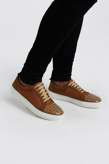 Tan Side Detail Lace Up Trainer