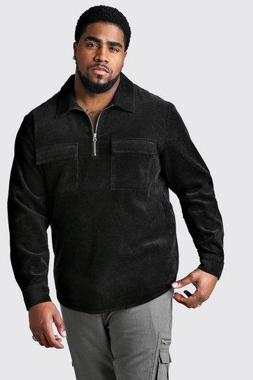 Black Big And Tall Half Zip Cord Shirt