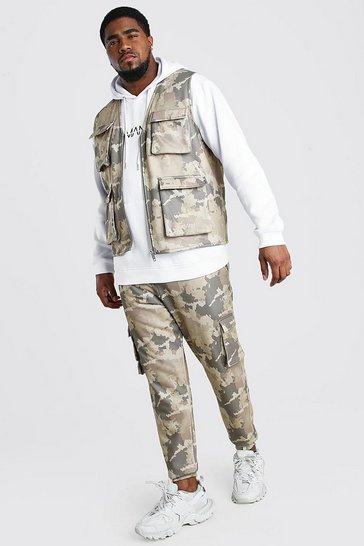 Khaki Big And Tall Camo Jogger And Vest Set