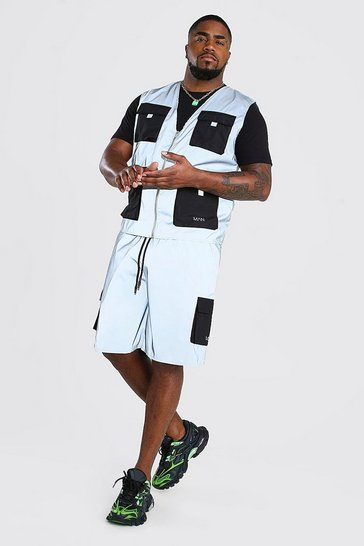 Silver Big And Tall Reflective Vest And Short Set