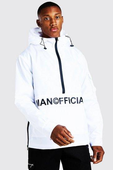 White MAN Official Front Pocket Half Zip Cagoule