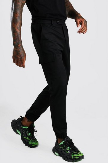 Black Skinny Casual Cargo Trouser
