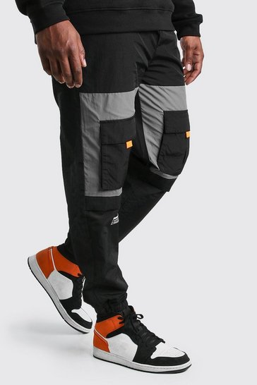 Black Big And Tall Contrast Cargo Pocket Joggers