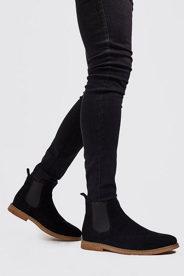 Black Faux Suede Chelsea Boots