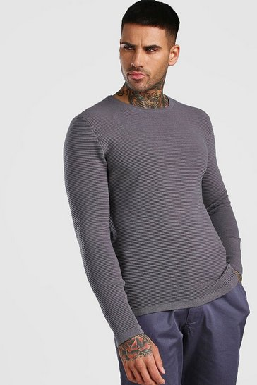 Grey Knitted Ribbed Long Sleeve Jumper