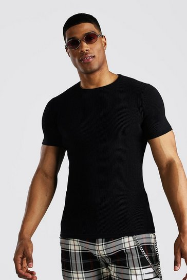 Black Knitted Ribbed Short Sleeve T-Shirt