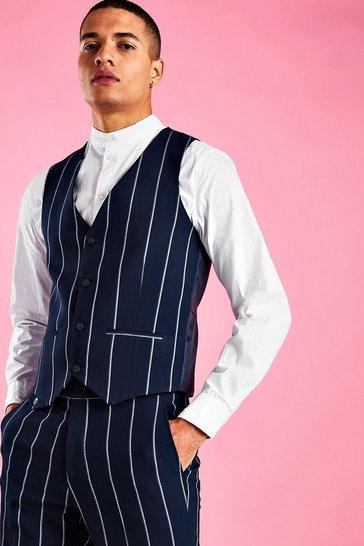 Navy Skinny Stripe Waistcoat
