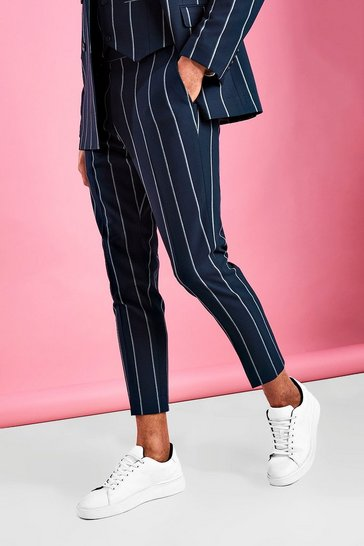 Navy Skinny Cropped Stripe Trousers