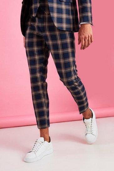 Navy Super Skinny Smart Check Trouser