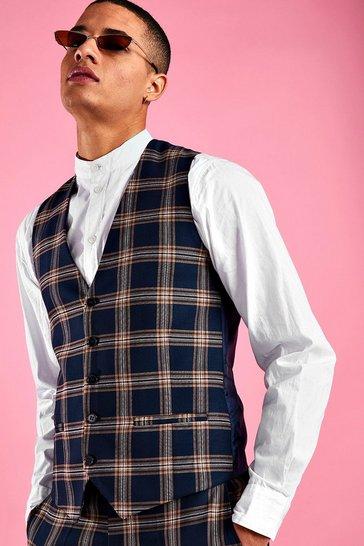 Navy Skinny Fit Check Waistcoat