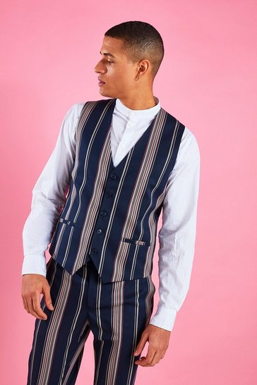 Navy Skinny Fit Stripe Waistcoat