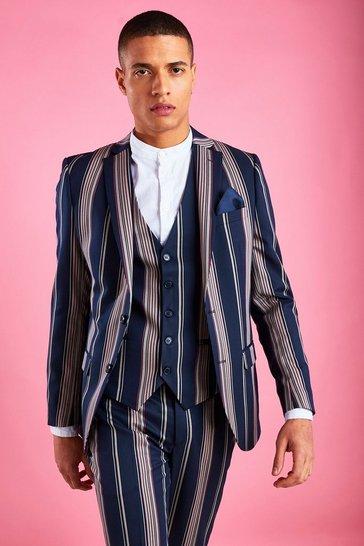 Navy Skinny Fit Stripe Blazer