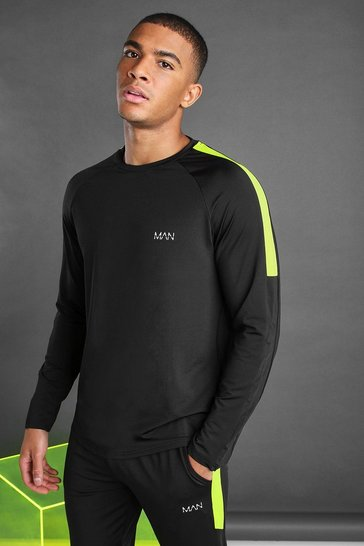 Black MAN Poly Long Sleeve T-Shirt With Panels