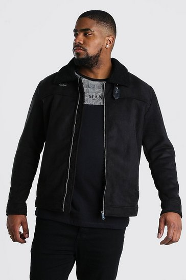 Black Big And Tall Faux Suede Borg Collar Harrington