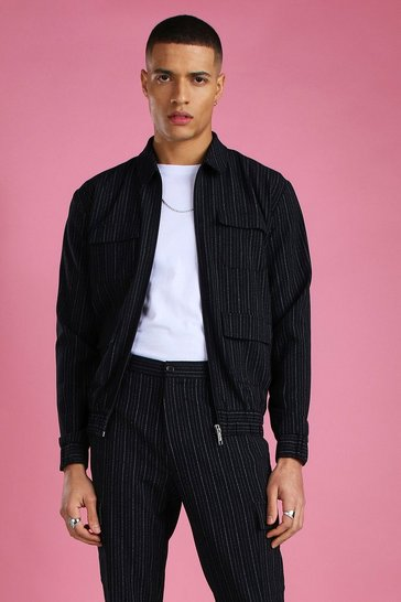 Navy Skinny Smart Pinstripe Cargo Jacket