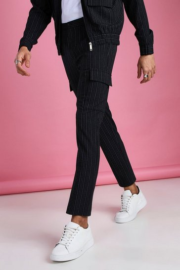 Navy Skinny Stripe Smart Cargo Trousers