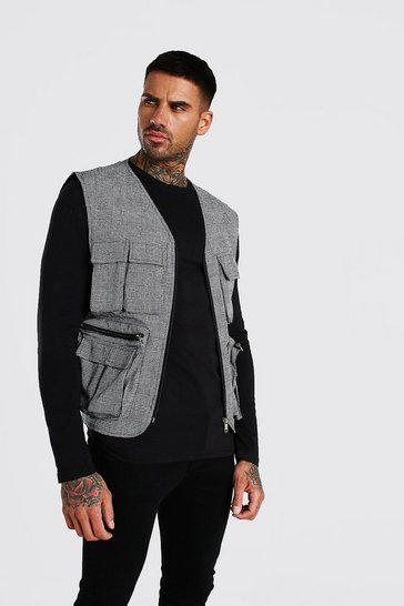 Grey Check Utility 4 Pocket Vest