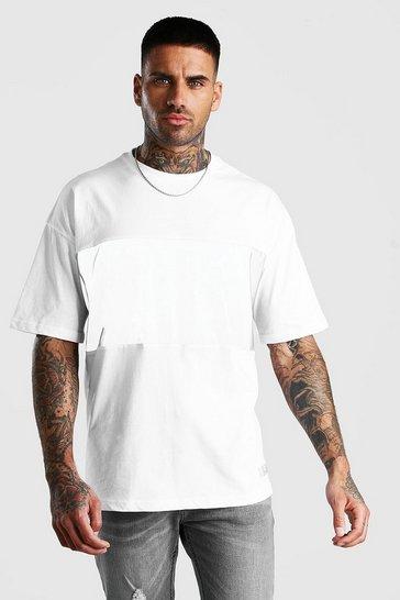 White Oversized MAN Branded Reflective Panel T-Shirt