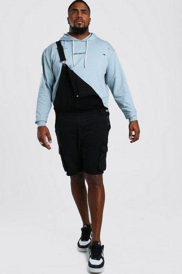 Washed black Big And Tall Short Length Denim Dungaree