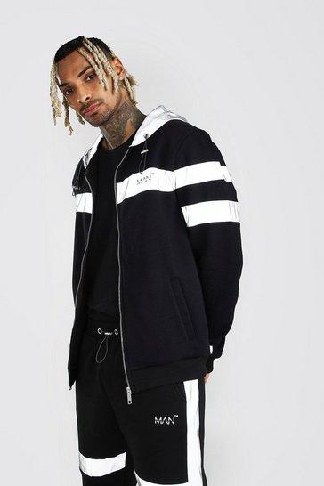 Black MAN Reflective Strip Zip Through Hoodie