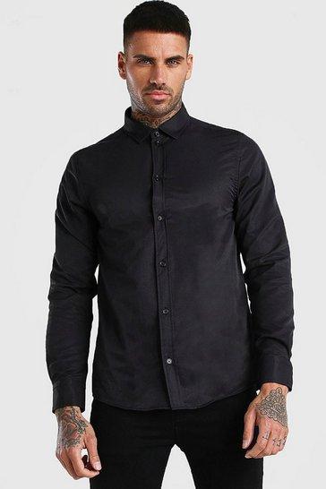 Black Long Sleeve Fine Texture Classic Formal Shirt