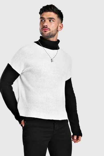 White Colour Block Jumper