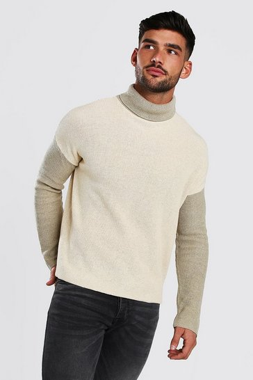 Stone Colour Block Jumper