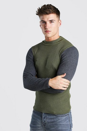 Khaki Colour Block Turtle Neck In Ribbed Muscle Fit