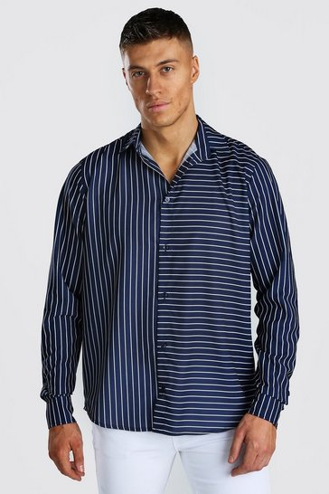 Navy Long Sleeve Mixed Stripe Shirt
