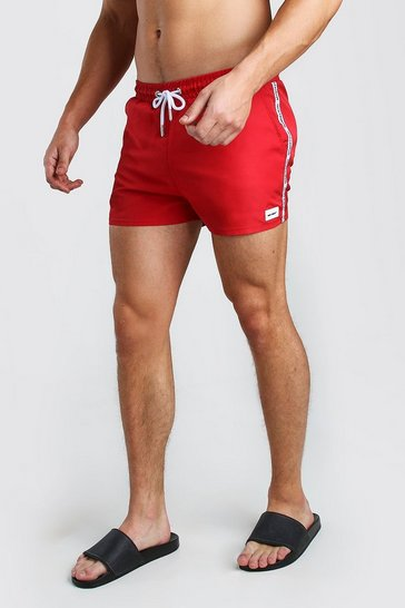 Red Mid Length Swim Short With MAN Branded Tape & Badge