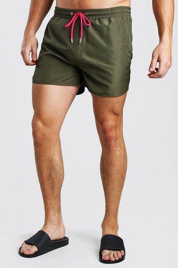 Khaki Plain Runner Style Swim Shorts With Contrast Cords