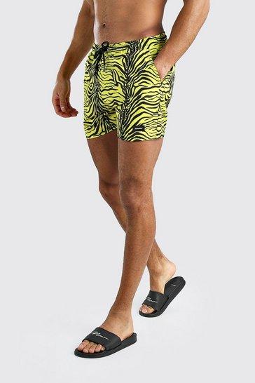 Yellow Mid Length Animal Print Swim Short With MAN Badge