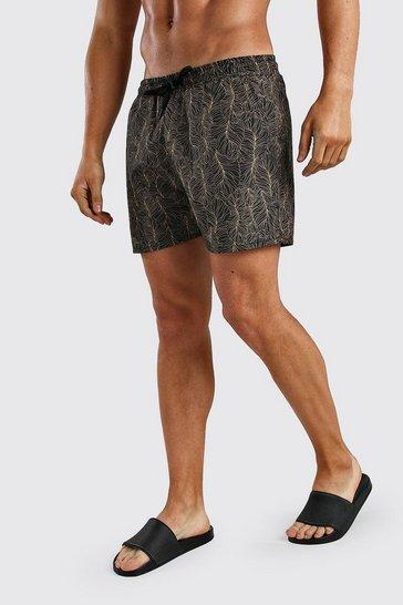Black Short Length Palm Print Swim Shorts