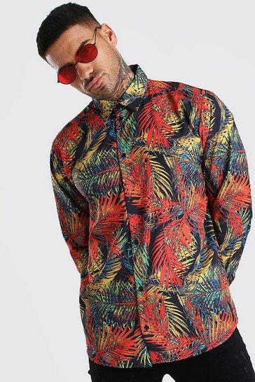 Multi Long Sleeve Shirt In Palm Print