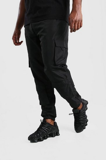 Black Big And Tall Shell Front Pocket Cargo Jogger
