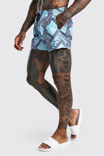 Blue Short Length Swim Short In Bandana Print