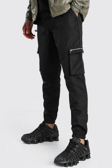 Black Nylon Cargo Trouser With Zips