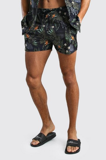 Black Palm Print Shorts