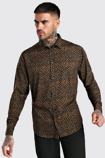 Tan Long Sleeve Shirt In Zebra Print