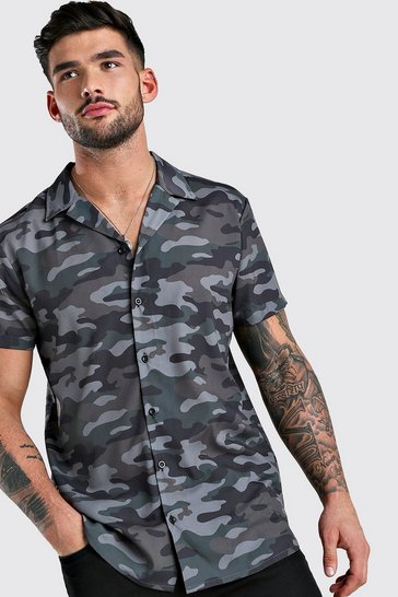 Khaki Short Sleeve Revere Collar Shirt In Camo Print