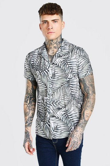 Pink Short Sleeve Revere Collar Shirt In Palm Print