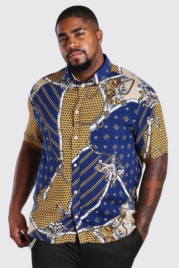 Navy Big And Tall Long Sleeve Chain Print Shirt