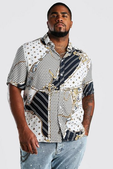 White Big And Tall Short Sleeve Chain Print Shirt