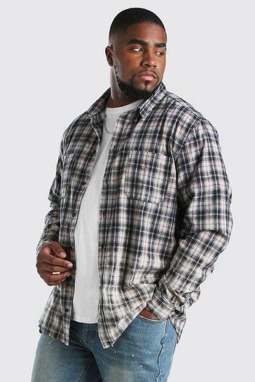 Ecru Big And Tall Bleach Splatter Check Shirt