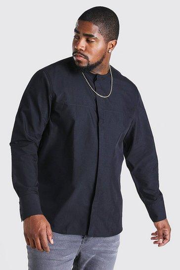 Black Big And Tall Long Sleeve Collarless Shirt