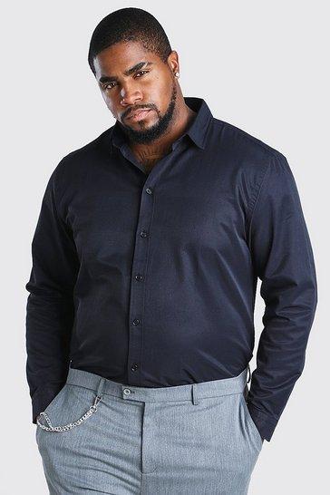 Black Big And Tall Long Sleeve Fine Texture Shirt