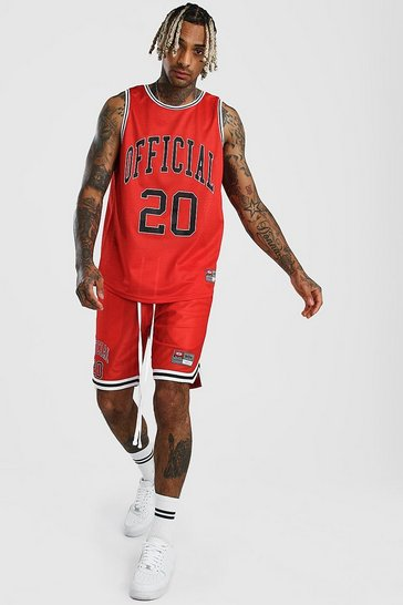 Red MAN Airtex Vest & Basketball Set